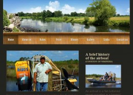 Corey Billie Airboat tours home page layout